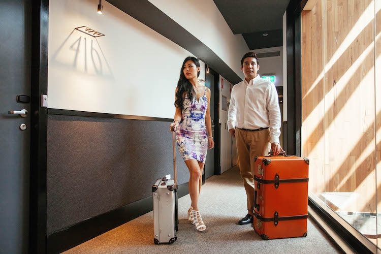 Checking in with Globe-Trotter luggage